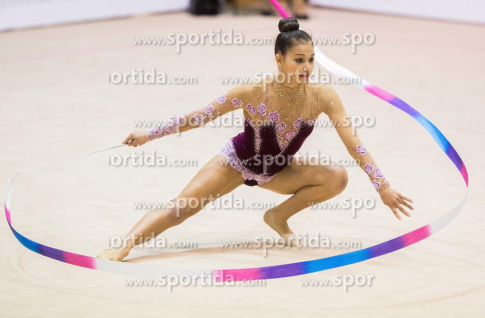 Tamia Dulce Villca Seme of Slovenia competes during 27th MTM - International tournament in rhythmic gymnastics Ljubljana, on April 19, 2014 in Arena Krim, Ljubljana, Slovenia. Photo by Vid Ponikvar / Sportida