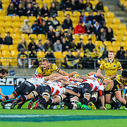 Scrum during the Super rugby (Round 12) match played between Hurricanes  v Lions, at Westpac Stadium, Wellington, New Zealand, on 5 May 2018.  Hurricanes won 28-19.