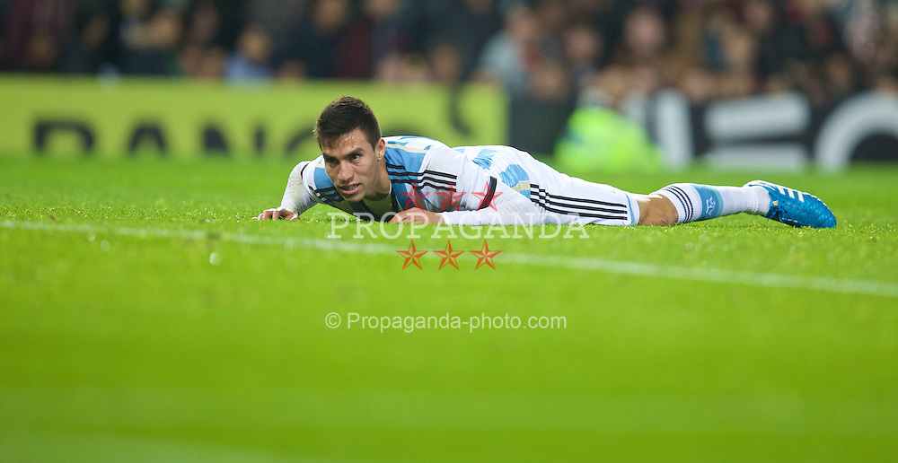 MANCHESTER, ENGLAND - Tuesday, November 18, 2014: Argentina's Nicolas Gaitan in action against Portugal during the International Friendly match at Old Trafford. (Pic by David Rawcliffe/Propaganda)