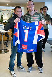 Dejan Zavec and Andrej Tavzelj at meeting of Slovenian Ice-Hockey National team and boxer Dejan Zavec - Jan Zaveck alias Mister Simpatikus, on April 15, 2010, in Hotel Lev, Ljubljana, Slovenia.  (Photo by Vid Ponikvar / Sportida)
