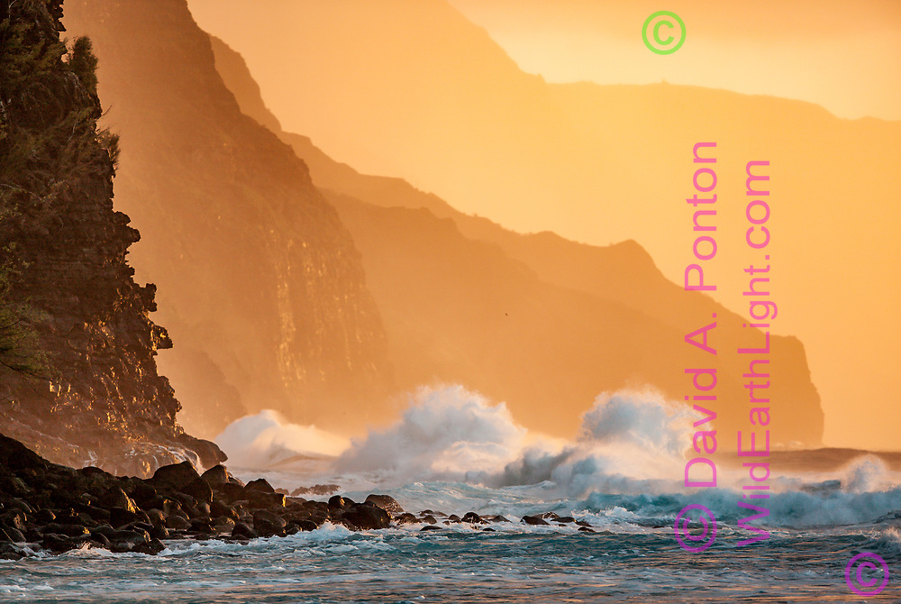 Huge breakers at the cliffs on the rugged Na Pali Coast of Kauai, Hawaii, © 2010 David A. Ponton