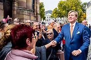 11-10-2018 SAARBRUCKEN  - King Willem-Alexander and Queen Maxima visit the at the de State Chancellery of  the during a 3 day visit to the German states Rijnland-Palts and Saarland. ROBIN UTRECH