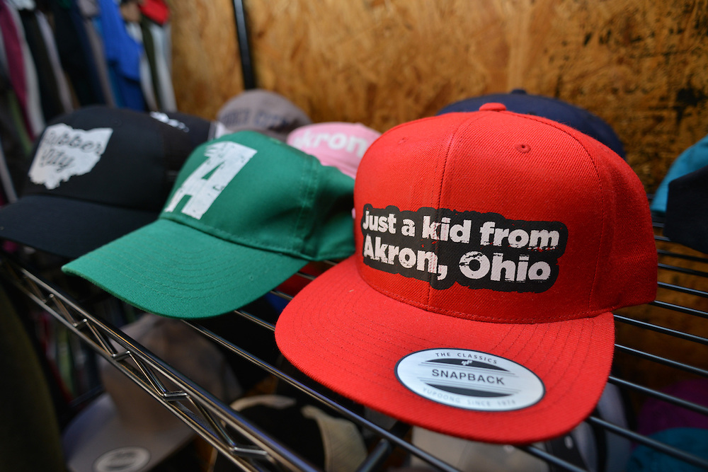 Hats for sale at Rubber City Clothing.