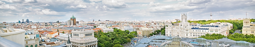 Panoramical view of the center of Madrid, Spain, with some important buildings