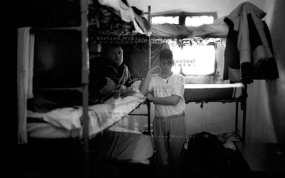 Roma 2000.Carcere di Regina Coeli  .Detenuti all'interno di una cella. Regina Coeli (Queen of Heaven) Prison.Prisoners inside a cell