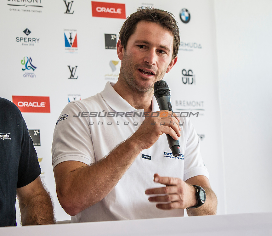 America's Cup arrives in Muscat.Official opening press  conference.Groupama Team France,Helmsman for Oman only - Adam Minoprio.Louis Vuitton America's Cup World Series Oman 2016. Muscat ,The Sultanate of Oman.Image licensed to Jesus Renedo/Lloyd images/Oman Sail