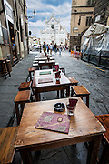 Cafe in alley across from Piazza di Santa Croce, Florence, Italy