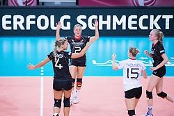 18.07.2015, Porsche-Arena, Stuttgart, GER, FIVB World Grand Prix, Deutschland vs Serbien, im Bild Jubel Maren Brinker #4 (Deutschland/Germany), Kathleen Weiv?/Weiss #2 (Deutschland/Germany) und Jennifer Geerties #6 (Deutschland/Germany) // during the FIVB World Grand Prix Match Germany vs Serbia Porsche-Arena in Stuttgart, Germany on 2015/07/18. EXPA Pictures © 2015, PhotoCredit: EXPA/ Eibner-Pressefoto/ Wuechner<br /> <br /> *****ATTENTION - OUT of GER*****