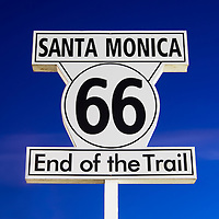 Photo of Santa Monica Route 66 End of the Trail sign on Santa Monica Pier in Los Angeles County Southern California.