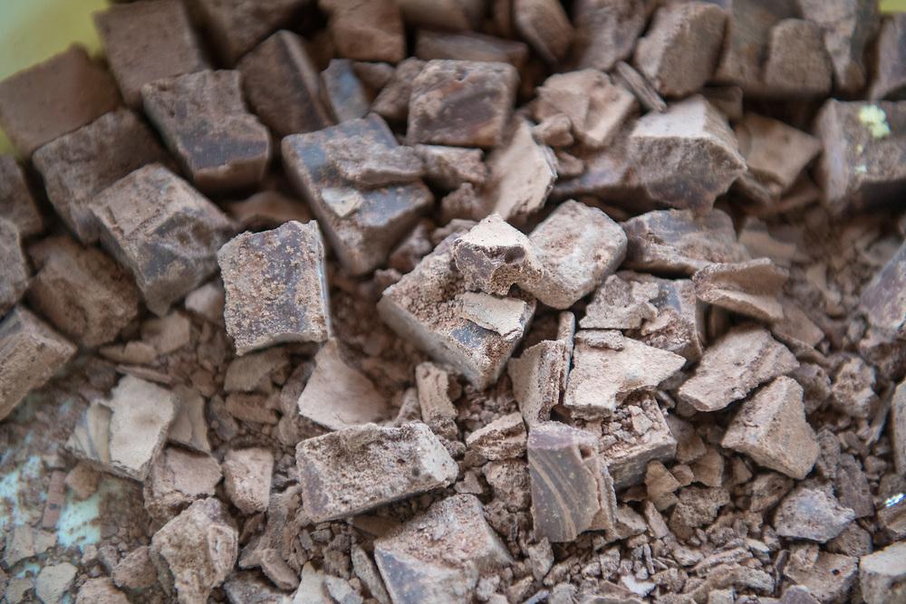 Close up of chunks of chocolate in Ganta, Liberia