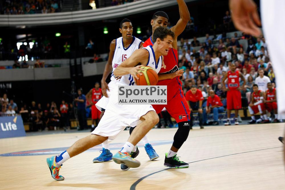 GB men vs Puerto Rico basketball at the Copper Box Arena. Devon van Oostrum (06) drive to the basket. 11/08/2013 (c) MATT BRISTOW