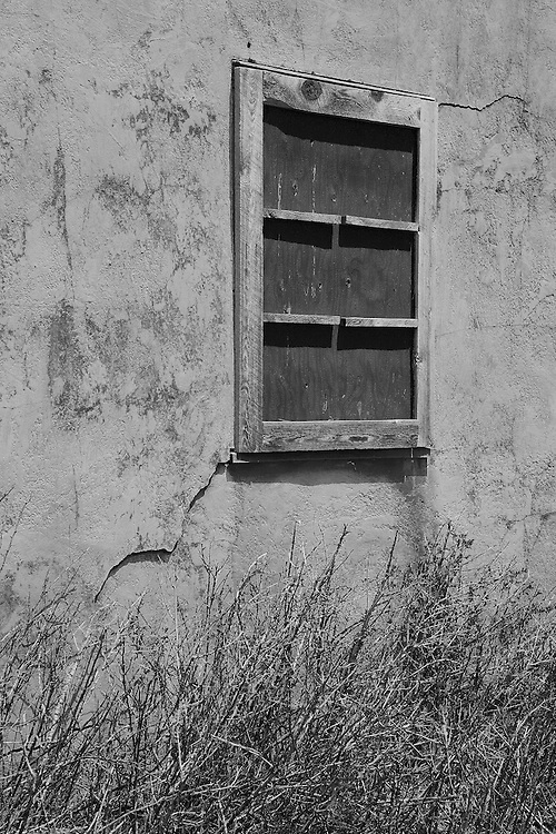 Mormon Row Homestead Window - Grand Tetons, WY - Black & White