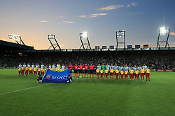 Italy U21 and Germany U21 players line up prior to kick off