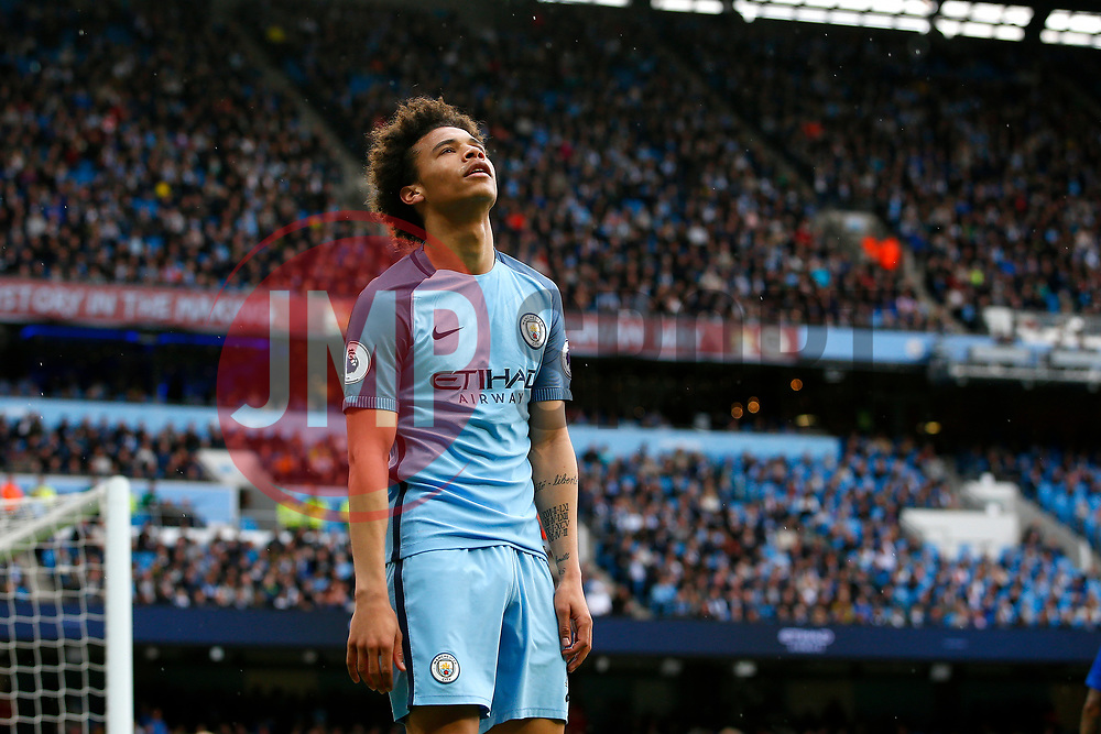 Leroy Sane of Manchester City reacts after missing a chance - Mandatory by-line: Matt McNulty/JMP - 13/05/2017 - FOOTBALL - Etihad Stadium - Manchester, England - Manchester City v Leicester City - Premier League