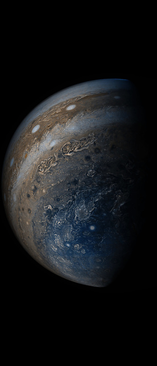"May 19, 2017 - Space - NASA's Juno spacecraft was racing away from Jupiter following its seventh close pass of the planet when JunoCam snapped this image on May 19, 2017, from about 29,100 miles (46,900 kilometers) above the cloud tops. The spacecraft was over 65.9 degrees south latitude, with a lovely view of the south polar region of the planet. This image was processed to enhance color differences, showing the amazing variety in Jupiter's stormy atmosphere. Four of the white oval storms known as the ""String of Pearls"" are visible near the top of the image. Interestingly, one orange-colored storm can be seen at the belt-zone boundary, while other storms are more of a cream color. (Credit Image: © JPL-Caltech/SwRI/MSSS/NASA via ZUMA Wire/ZUMAPRESS.com)"