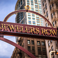 Jewelers Row sign in Chicago. Jewelers Row is a historic landmark district in downtown Chicago and is primarily jewelry stores.