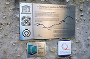 UNESCO heritage sign at Chateau de Villandry, Villandry, Loire Valley, France