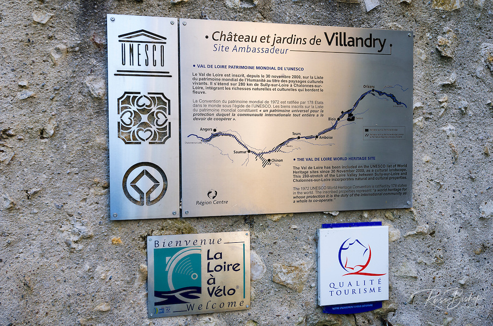 UNESCO heritage sign at Chateau de Villandry, Villandry, Loire Valley, France
