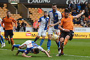 Wolverhampton Wanderers defender Danny Batth has a shot 0-0 during the Sky Bet Championship match between Wolverhampton Wanderers and Blackburn Rovers at Molineux, Wolverhampton, England on 9 April 2016. Photo by Alan Franklin.