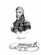 Pierre Francois Charles Augereau, Duke of Castiglione (1757-1816). French soldier during Napoleonic Wars. Marshal of France 1804. Shown in military dress wearing orders and decorations. Lithograph