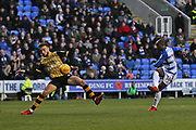 Reading Sone Aluko (14) goes close in the first half during the EFL Sky Bet Championship match between Reading and Sheffield Wednesday at the Madejski Stadium, Reading, England on 25 November 2017. Photo by Gary Learmonth.