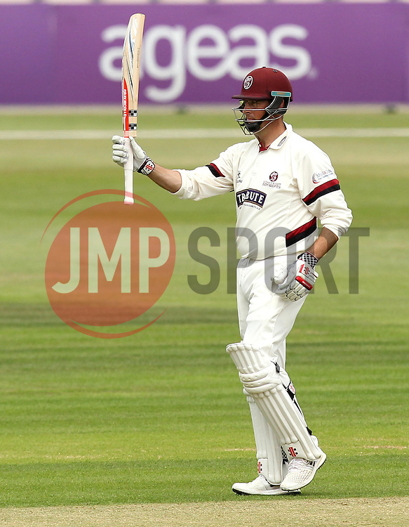 Somerset's Marcus Trescothick raises his bat after reaching 50 - Photo mandatory by-line: Robbie Stephenson/JMP - Mobile: 07966 386802 - 21/06/2015 - SPORT - Cricket - Southampton - The Ageas Bowl - Hampshire v Somerset - County Championship Division One