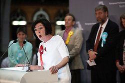 © Licensed to London News Pictures . 26/05/2019. Manchester, UK. THERESA GRIFFIN (Labour Party) delivers her victory speech . The count for seats in the constituency of North West England in the European Parliamentary election , at Manchester Central convention centre . Photo credit: Joel Goodman/LNP