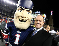 December 2008: Pictures from the NFL Total Access set in Various cities for the 2008 NFL Network Season. Rich Eisen poses with the Patriots mascot in Foxboro, MA.