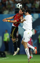 Sergio Ramos of Spain (15) vs Luca Toni of Italy (9) during the UEFA EURO 2008 Quarter-Final soccer match between Spain and Italy at Ernst-Happel Stadium, on June 22,2008, in Wien, Austria. Spain won after penalty shots 4:2. (Photo by Vid Ponikvar / Sportal Images)