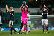 Dundee's Cammy Kerr, Scott bain and Darren O'Dea applaud the travelling support at the end - Celtic v Dundee in the Ladbrokes Scottish Premiership at Celtic Park, Glasgow. Photo: David Young<br /> <br />  - © David Young - www.davidyoungphoto.co.uk - email: davidyoungphoto@gmail.com