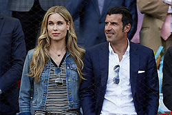 May 13, 2018 - Madrid, Madrid, Spain - Former Portuguese football player Luis Figo (R) and his wife the Swedish model Helen Svedin attend day nine of the Mutua Madrid Open tennis tournament at the Caja Magica on May 13, 2018 in Madrid, Spain  (Credit Image: © David Aliaga/NurPhoto via ZUMA Press)