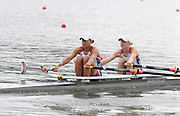 Poznan, POLAND,   USA LW2X, move away from the start line, competing in the women's lightweight double sculls repechage, on the fourth day of the, 2009 FISA World Rowing Championships. held on the Malta Rowing lake,Wednesday  26/08/2009  [Mandatory Credit. Peter Spurrier/Intersport Images]