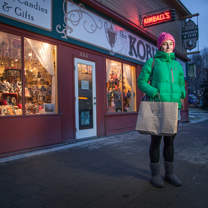 "Civil Engineer Emily Kloc shopping on Black Friday in downtown Anchorage.  ""My dream job would be backup dancer for Janet Jackson.""  klocster@gmail.com"
