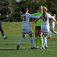 3rd year goalkeeper Ashton Lowry (20) of the Regina Cougars celebrates after the Women's Soccer Home Game on October 15 at U of R Field. Credit: Arthur Ward/Arthur Images