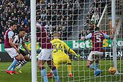 Aston Villa midfielder Henri Lansbury (5) scores a bizarre own goal to make the score 2-0 tom Newcastle United  during the EFL Sky Bet Championship match between Newcastle United and Aston Villa at St. James's Park, Newcastle, England on 20 February 2017. Photo by Simon Davies.