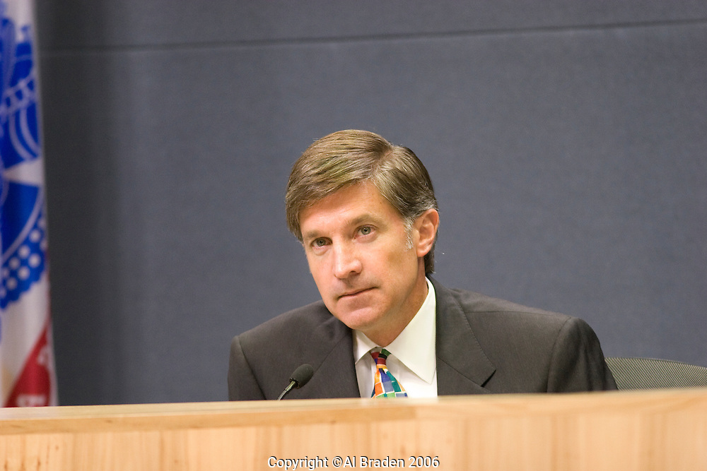 Austin Mayor Will Wynn presides over City Council Meeting.