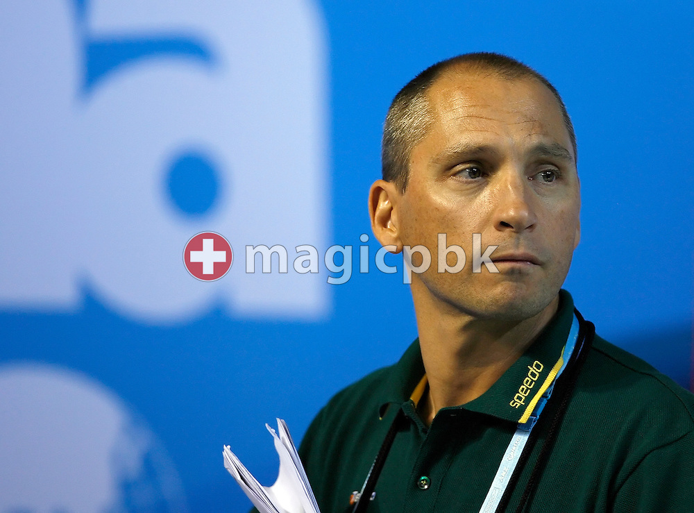 Australian coach Stephan WIDMER of Switzerland is pictured during a time trial of one of his swimmer after the heats in the Susie O'Neill pool at the FINA Swimming World Championships in Melbourne, Australia, Thursday 29 March 2007. (Photo by Patrick B. Kraemer / MAGICPBK)