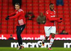 Saido Berahino of Stoke City warms up with Ibrahim Afellay  - Mandatory by-line: Matt McNulty/JMP - 01/02/2017 - FOOTBALL - Bet365 Stadium - Stoke-on-Trent, England - Stoke City v Everton - Premier League