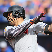 NEW YORK, NEW YORK - July 05: Giancarlo Stanton #27 of the Miami Marlins hits a double during the Miami Marlins Vs New York Mets regular season MLB game at Citi Field on July 04, 2016 in New York City. (Photo by Tim Clayton/Corbis via Getty Images)