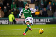 Scott Allan (#23) of Hibernian FC scores the equalising goal from the penalty spot during the William Hill Scottish Cup fourth round match between Hibernian FC and Dundee United FC at Easter Road Stadium, Edinburgh, Scotland on 28 January 2020.