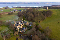 Aerial view The House of Binns and Binns Tower, West Lothian, home of the Dalyell family,  owned by National Trust for Scotland. Scotland, UK.