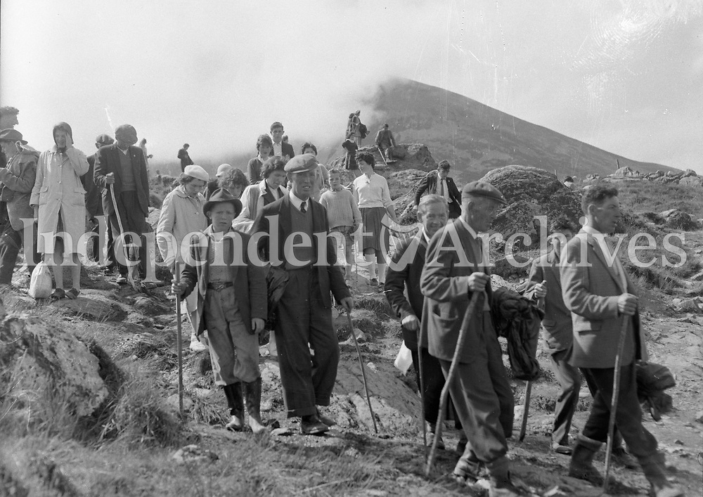 Pilgrims on Croagh Patrick in July 1962.<br />