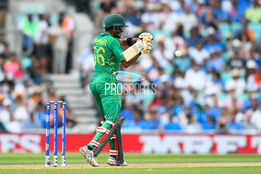Babar Azam of Pakistan goes to hit the ball during the ICC Champions Trophy final match between Pakistan and India at the Oval, London, United Kingdom on 18 June 2017. Photo by Graham Hunt.