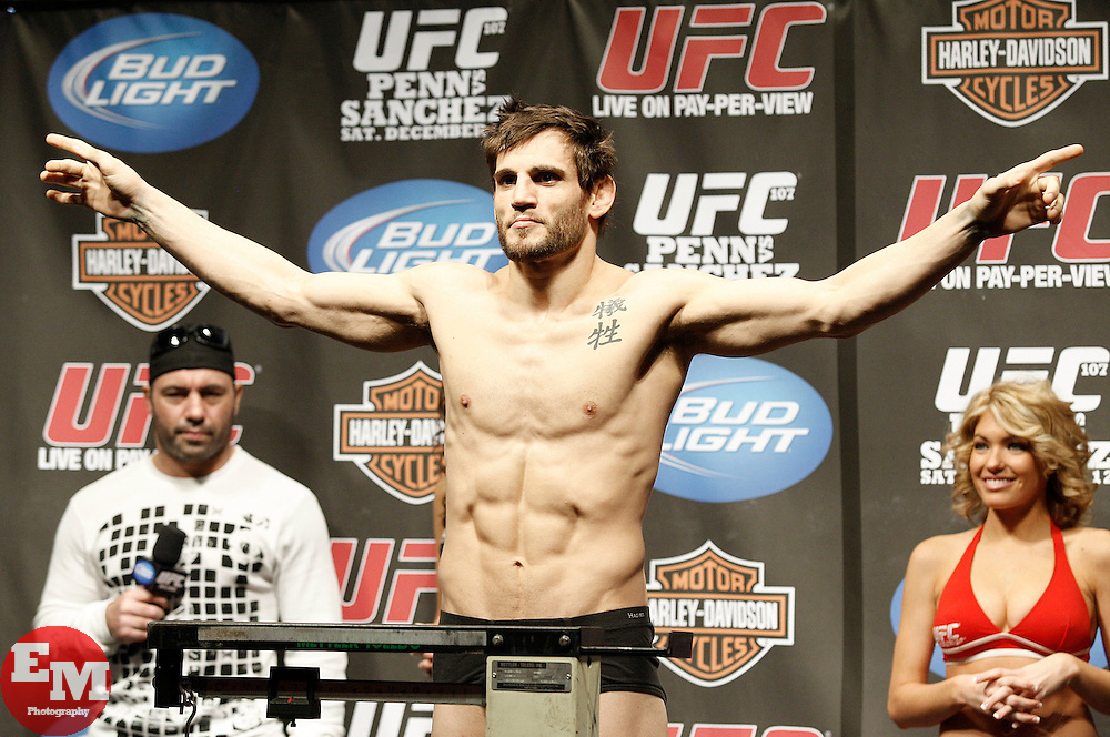 Dec 12, 2009; Memphis, TN, USA; Welterweights Jon Fitch and Mike Pierce pose after weighing in for their upcoming bout at UFC 107.  The two will meet at the FedEx Forum in Memphis, TN.