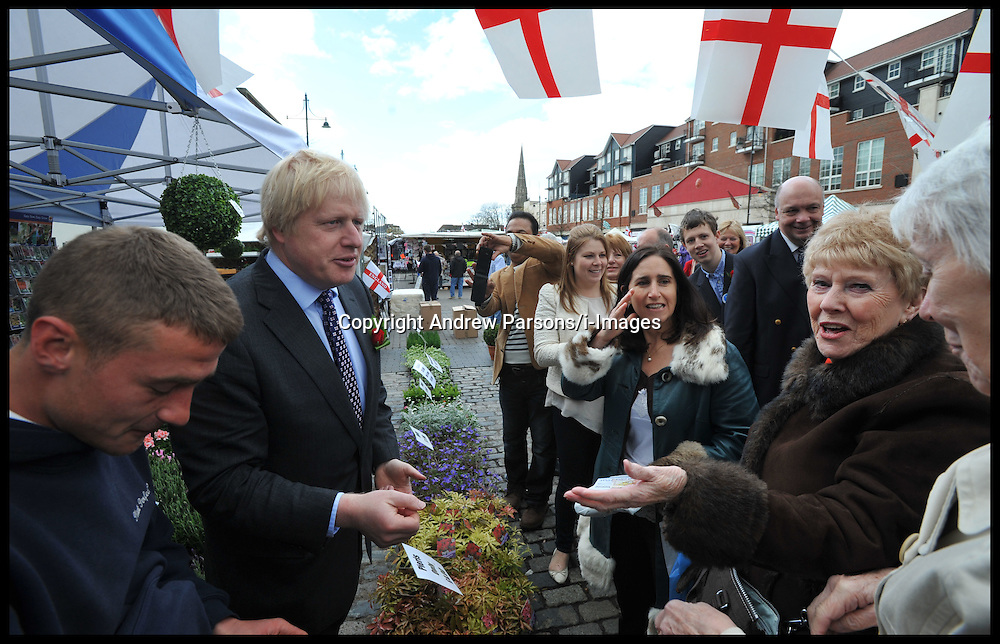 Boris Johnson and his wife Marina campaigning in Romford Market, Greater London, during the London Mayoral Campaign, Saturday April 21, 2012. Photo By Andrew Parsons/I-images