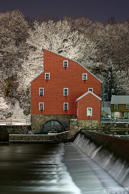 Clinton Red Mill Museum at night after a the first snow of 2013.