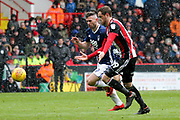 Daryl Murphy of Nottingham Forest (9) and Richard Stearman of Sheffield United (19) during the EFL Sky Bet Championship match between Sheffield United and Nottingham Forest at Bramall Lane, Sheffield, England on 17 March 2018. Picture by Mick Haynes.