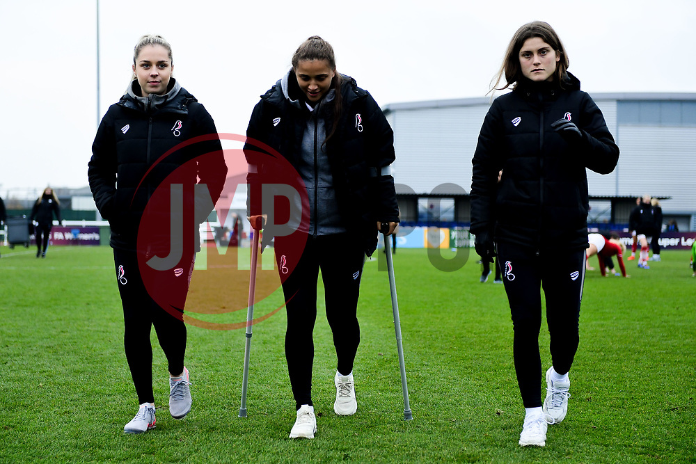 Poppy Pattinson, Abi Harrison of Bristol City and Vita van der Linden after the final whistle of the match  - Mandatory by-line: Ryan Hiscott/JMP - 24/11/2019 - FOOTBALL - Stoke Gifford Stadium - Bristol, England - Bristol City Women v Manchester City Women - Barclays FA Women's Super League