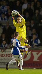 BRISTOL, ENGLAND - Tuesday, September 28, 2010: Tranmere Rovers' goalkeeper Peter Gulacsi in action against Bristol Rovers during the Football League One match at the Memorial Ground. (Photo by David Rawcliffe/Propaganda)