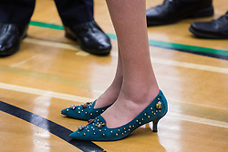 Maidenhead, UK. 13 December, 2019. Theresa May's choice of footwear for the general election count for the Maidenhead constituency.